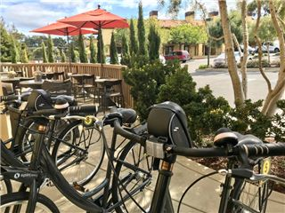 Rental bikes and view of Hotel parking